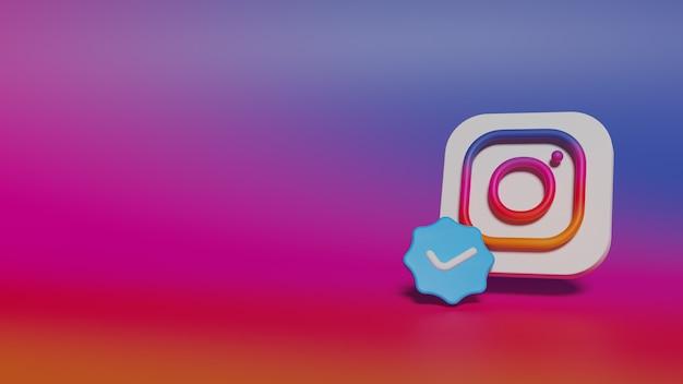 3d 렌더링 instagram은 최소한의 로고를 확인했습니다.