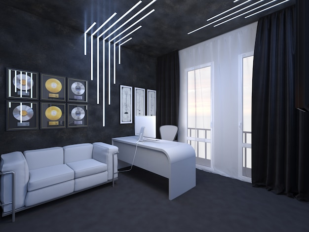 3d render of interior design of an office fate of the guitarist