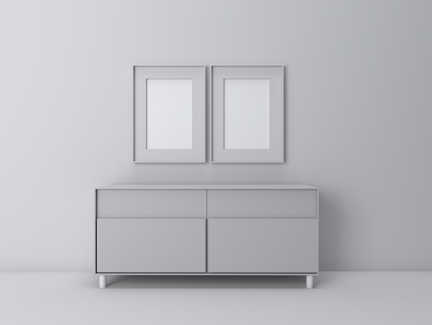 3d render of interior in living room perspective in white screen