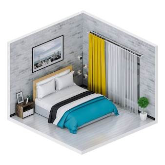 3d render of interior modern bedroom.