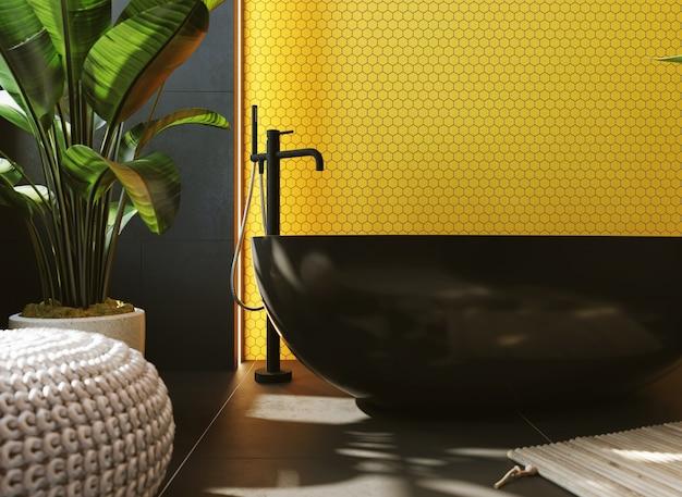 3d визуализация. интерьер современной ванной комнаты с желтой мозаикой на стене. прямоугольное зеркало и круглый черный умывальник.