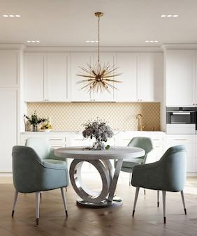 3d визуализация интерьера современной столовой с шестиугольным фартуком из бежевой мозаики