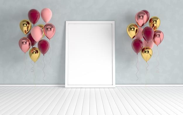 3d визуализация интерьера с фиолетовой фольгой и разноцветными воздушными шарами и пустой рамкой для плаката
