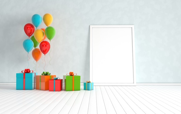 3d render interior with realistic colorful balloons, gift box with ribbon mock up poster in the room.