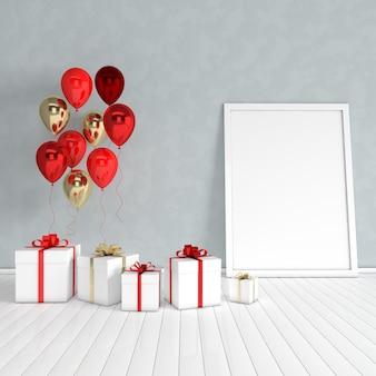 3d визуализация интерьера с реалистичными золотыми и красными воздушными шарами, подарочная коробка с лентой, макет плаката в комнате
