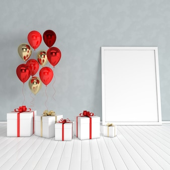 3d render interior with realistic gold and red balloons, gift box with ribbon mock up poster in the room
