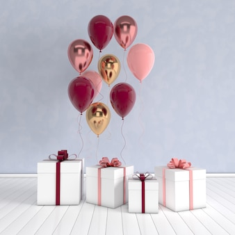 3d визуализация интерьера с реалистичными золотыми и разноцветными воздушными шарами и подарочной коробкой с бантом в комнате.