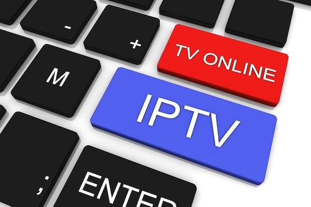 3dレンダリング。 iptv。オンラインテレビ放送。技術コンセプト