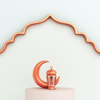 3d визуализация исламского украшения фона с серповидным фонарем