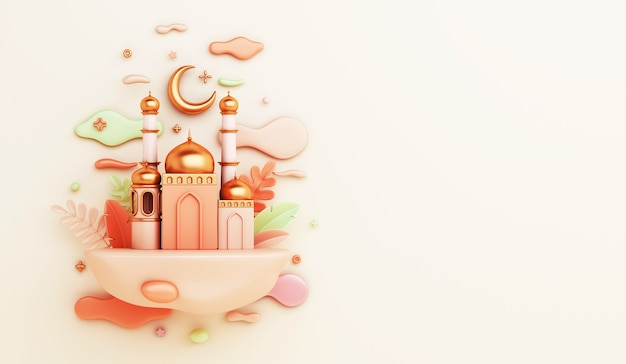 3d render islamic decoration with mosque, crescent moon and clouds on light yellow background