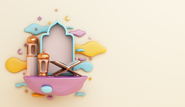 3d render islamic decoration with quran lantern and clouds on yellow background