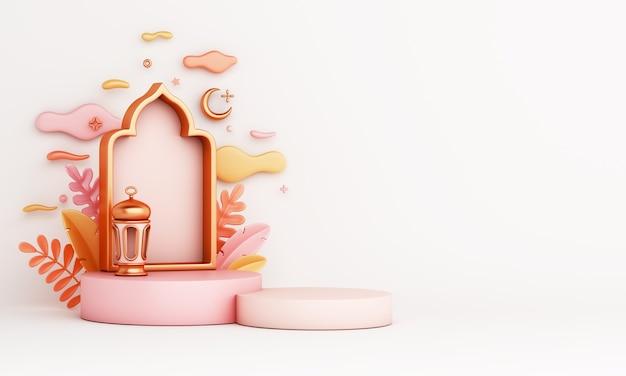 3d визуализация исламского декора подиума с арабским фонарем, окном, листьями и облаками