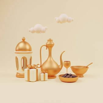 3d render of islamic iftar setup with arabic lantern water jug dates and sweet dish siwai with copy space