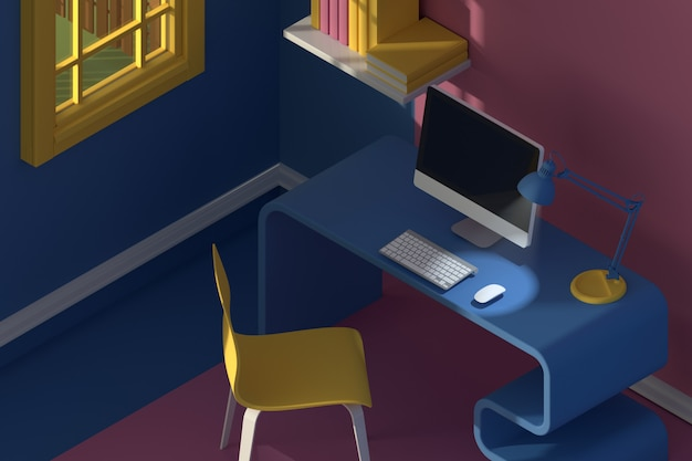 3d render. isometric view of interior in minimalistic modern cartoon style.room in evening sunlight. with chair, table, computer, window