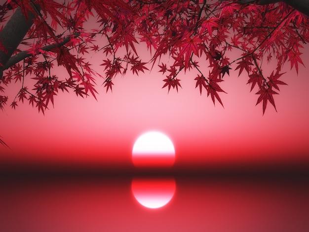 Il rendering 3d di un albero di acero giapponese contro un tramonto sull'oceano