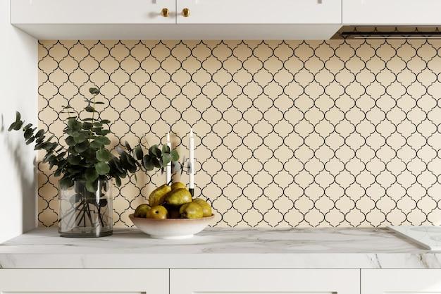 3d визуализация дизайна интерьера кухни с бежевым мозаичным фартуком