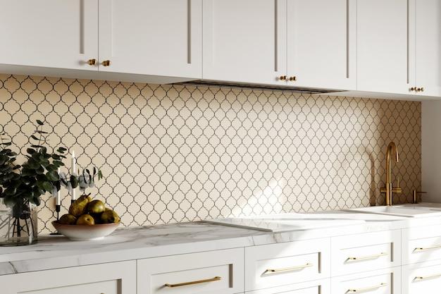 3d визуализация дизайна интерьера кухни с шестиугольной бежевой мозаичной панелью
