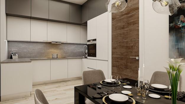 3d визуализация дизайна интерьера кухни