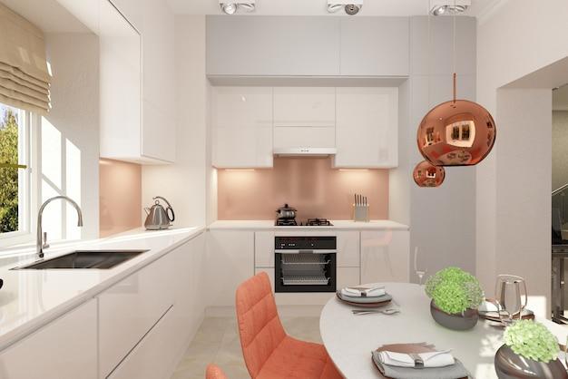 3d render. kitchen interior design.