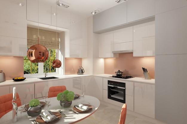 3d визуализация. дизайн интерьера кухни.