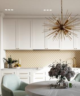 3d визуализация интерьера кухни с шестиугольной бежевой мозаичной панелью