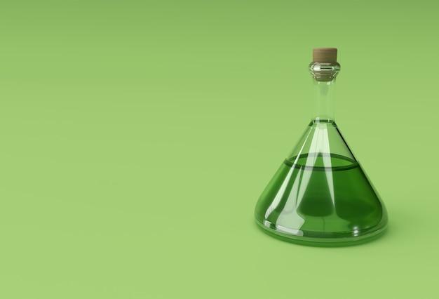Лабораторная колба 3d render наливает химическую прозрачную колбу с зеленой жидкостью.