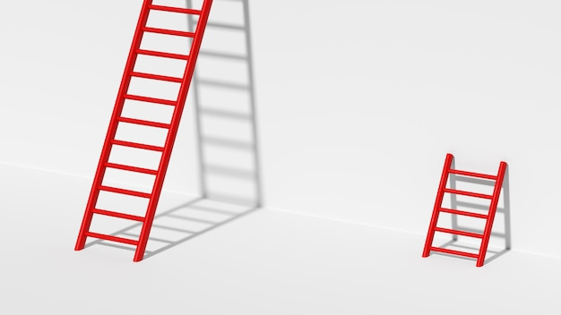 3d render ladder to success with better way to achieve goal motivation