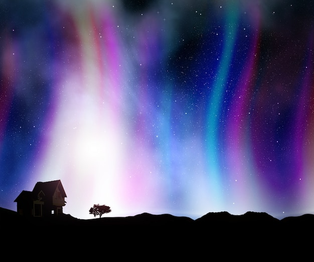 3d render of a landscape with a house against a night sky with aurora lights