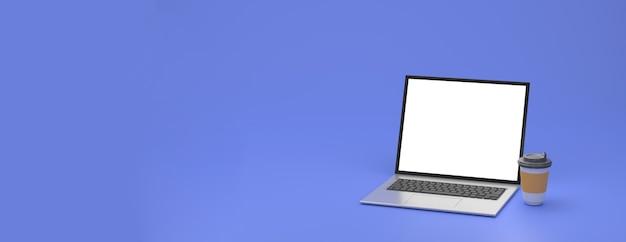 3d 렌더링. 노트북과 뜨거운 커피 컵입니다. 비즈니스 개념입니다. 작업 공간에서 작업.