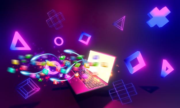 3d визуализация ноутбука с иконками социальных сетей и фигурами, выходящими из него на размытом фиолетовом фоне