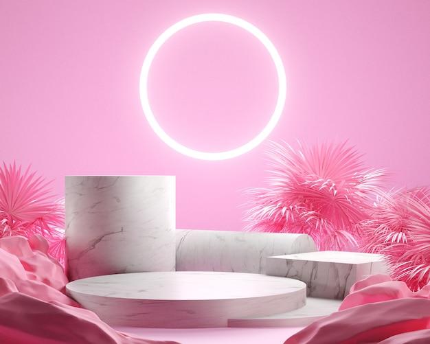 3dレンダリングの葉の手のひらとピンクの背景、大理石の表彰台、白いネオンライト、ディスプレイまたはショーケースを備えたピンク色のジェモトリック。