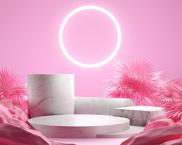 3d render leaf palm and pink background, pink color gemotric with marble podium, white neon light, display or showcase.