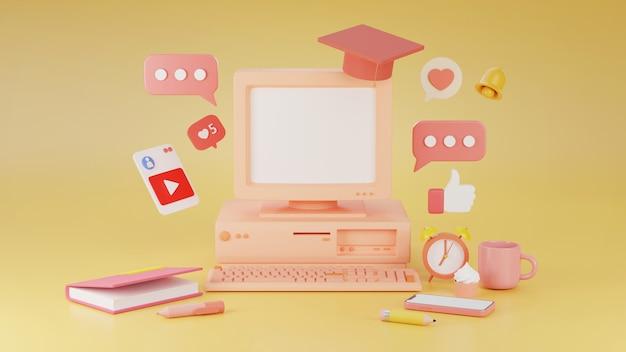 격리 동안 3d 렌더링 학습 개념 온라인 교육
