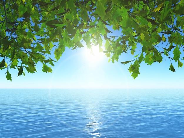 3d render of leaves against an ocean landscape