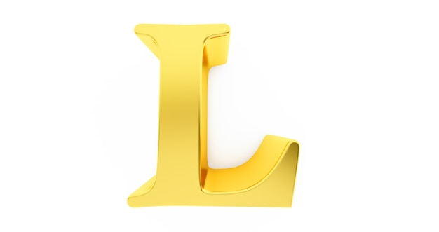 3d render of the letter l in gold metal isolated on a white background.
