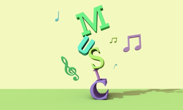 3d render letters . musical background concept