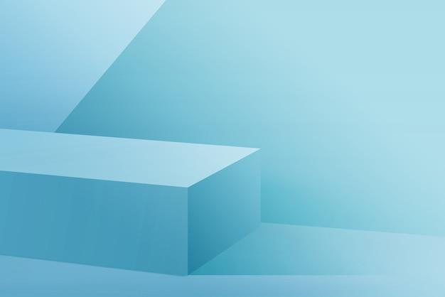 水色の背景に水色の表彰台を3dレンダリング
