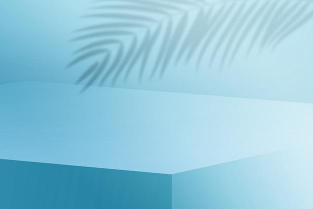 3dは、水色の背景にヤシの木の葉の影で水色の表彰台をレンダリングします