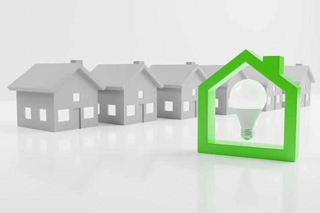 白い背景の上の緑の家のシルエットの中の 3 d レンダリング電球
