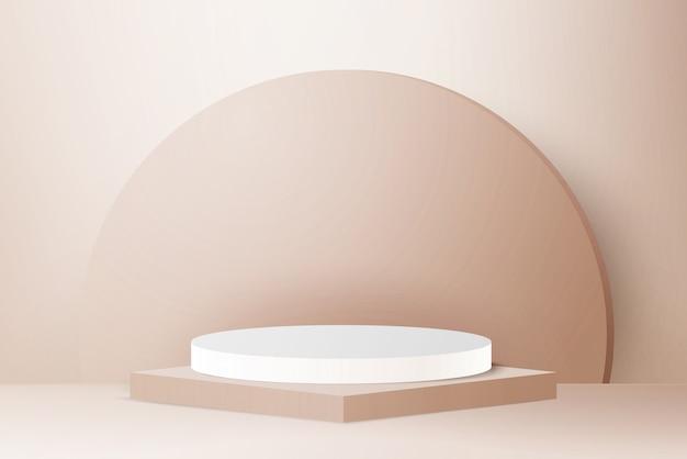 3d render light gold podium on light gold background