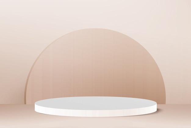 3d render light gold round podium on light gold background