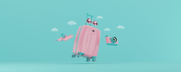 3d render light pink suitcase with travel accesories isolated on blue background