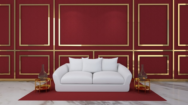 3d render of living room and mockup in red background