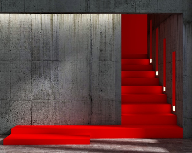 3d render of loft style and abstract red stair