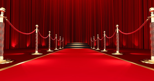 3d render of long red carpet between rope barriers, realistic red carpet and pedestal.