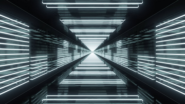 3d render looping tunnel with neon equalizer