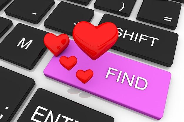 3d визуализация ключ концепции любви. 3d визуализация кнопки ввода с красным сердцем. концепция любви