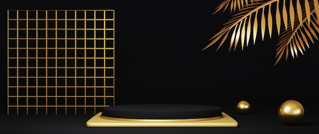 3d render luxury black and gold podium with gold patterned and gold palm leaves on black background