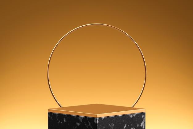 3d 렌더링 럭셔리 골드 제품 배경 무대 또는 빈 연단 받침대.
