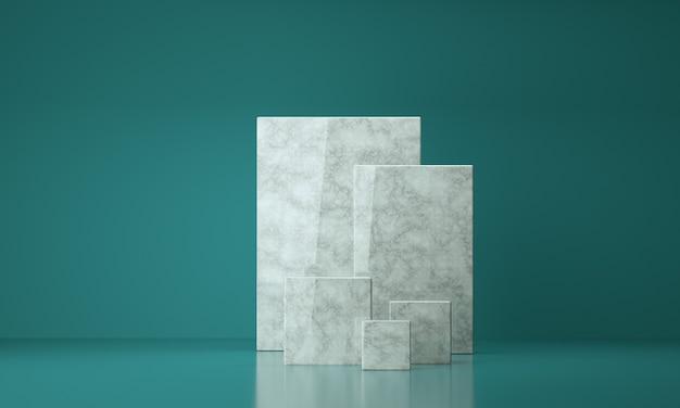 豪華な大理石の正方形の3dレンダリング、コピースペースを備えた製品ディスプレイ用のスタジオ背景